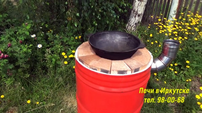 We make a tandoor from a barrel with a warmed hearth without a solution