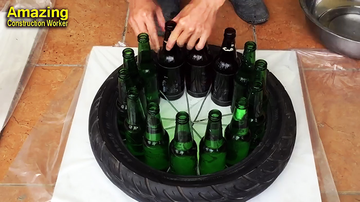 You won't believe how cool a thing can be made from bottles and cement