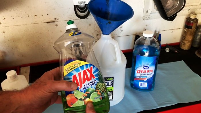 Then the dish detergent is added