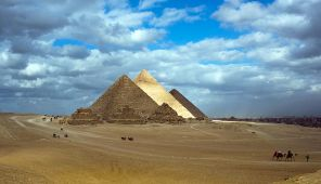 In the photo: the complex of pyramids in Giza, Egypt