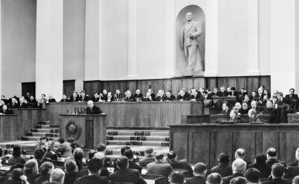 In the photo: First Secretary of the CPSU Central Committee Nikita Sergeevich Khrushchev during a speech, February 1956.
