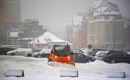 Pictured: a snowplow for the road cleaning service in Rostock in Mecklenburg-Vorpommern, Germany