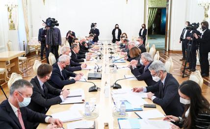 In the photo: Russian Foreign Minister Sergei Lavrov (fifth left) and EU High Representative for Foreign Affairs and Security Policy Josep Borrell (fifth right) during a meeting at the Russian Foreign Ministry's Reception House