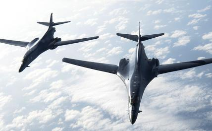 Pictured: two US Air Force B1-B Lancer strategic bombers