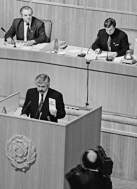 In the photo: Alexander Rutskoi takes the oath of office of the President of the Russian Federation at an urgent meeting of the Supreme Soviet of Russia, which followed the television address of President Boris Yeltsin to the nation.  The President announced the dissolution of the Russian parliament.  The parliamentarians decided to transfer presidential powers to Vice President Alexander Rutskoy.