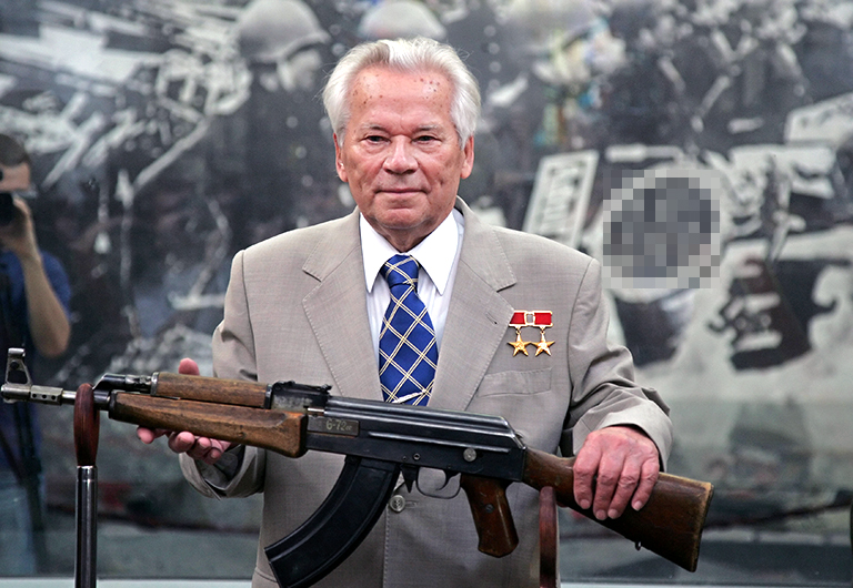 In the photo: the legendary Russian gunsmith MIKHAIL KALASHNIKOV at the ceremony to celebrate the 60th anniversary of the release of the AK-47 Kalashnikov assault rifle.