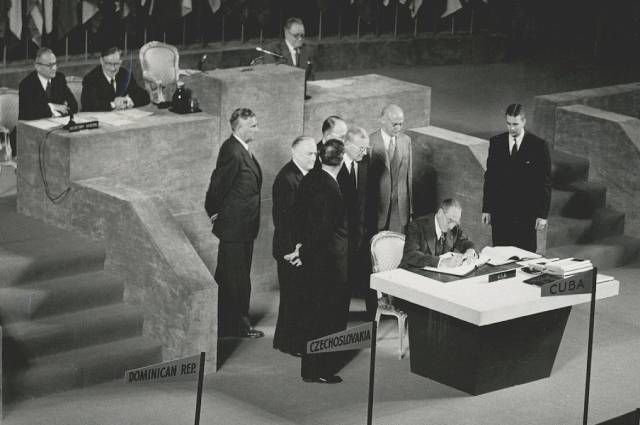 The signing of the peace treaty with Japan, San Francisco, September 8, 1951.