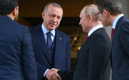 Photo: Turkish President Recep Tayyip Erdogan and Russian President Vladimir Putin (center from right to left) during a meeting at the Bocharov Ruchei residence