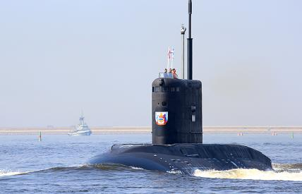 """In the photo: the military submarine """"Volkhov"""""""